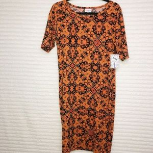 LuLaRoe Julia  Orange Black Bodycon Dress
